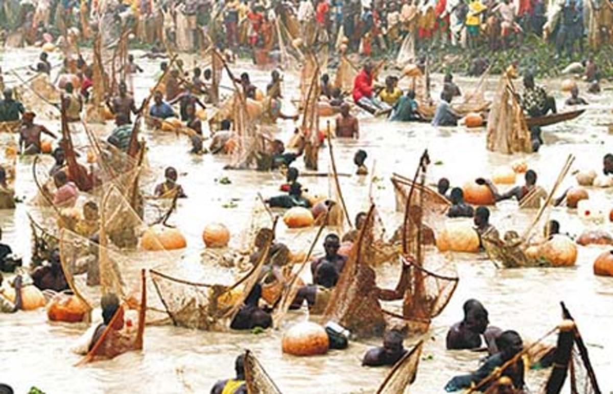 A large number of fishermen during Argungu fishing festival