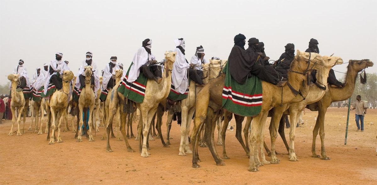 Camel riders at the Argungu fishing festival