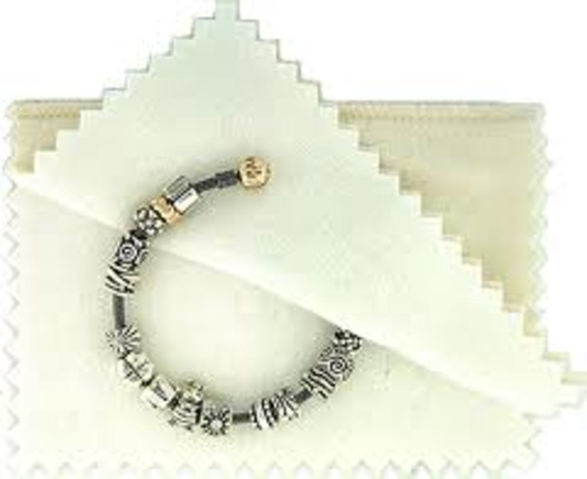 cleaning cloth with Pandora style charm bracelet