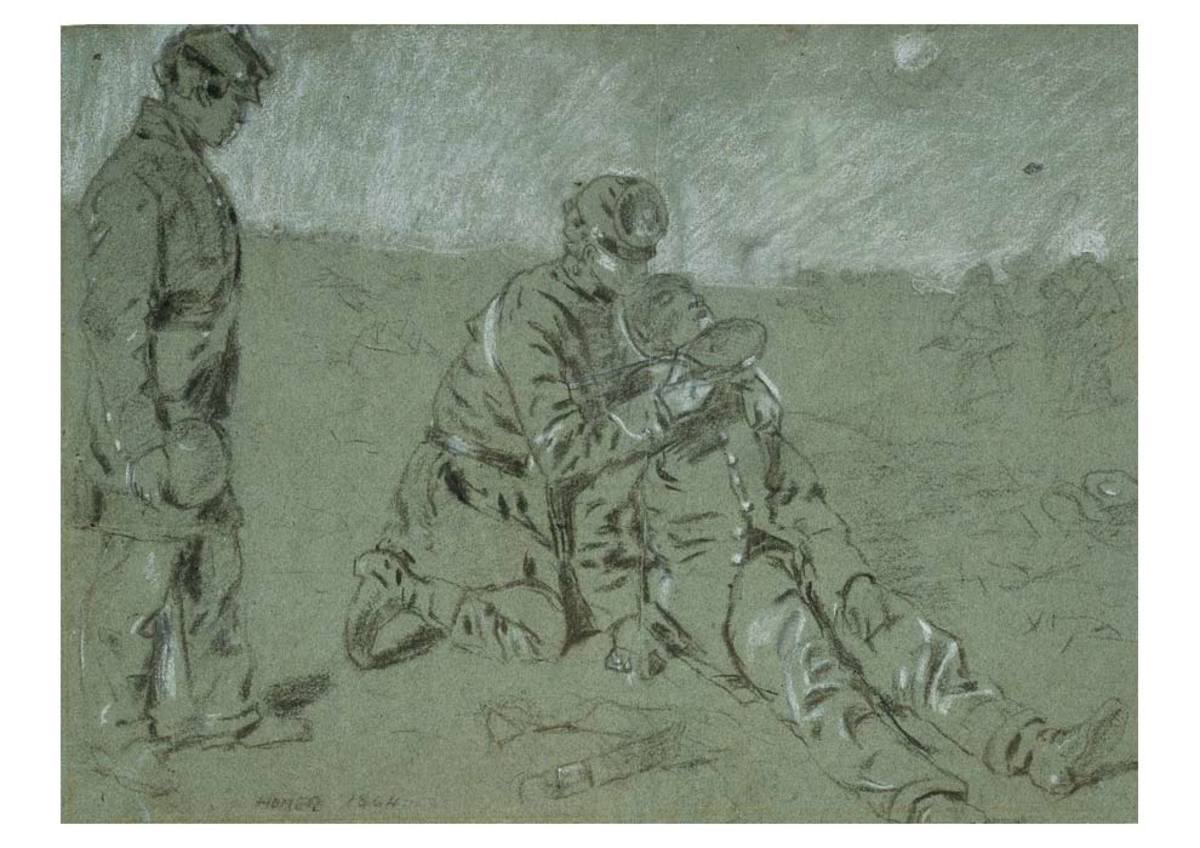 Sketch - a wounded comrade is given water