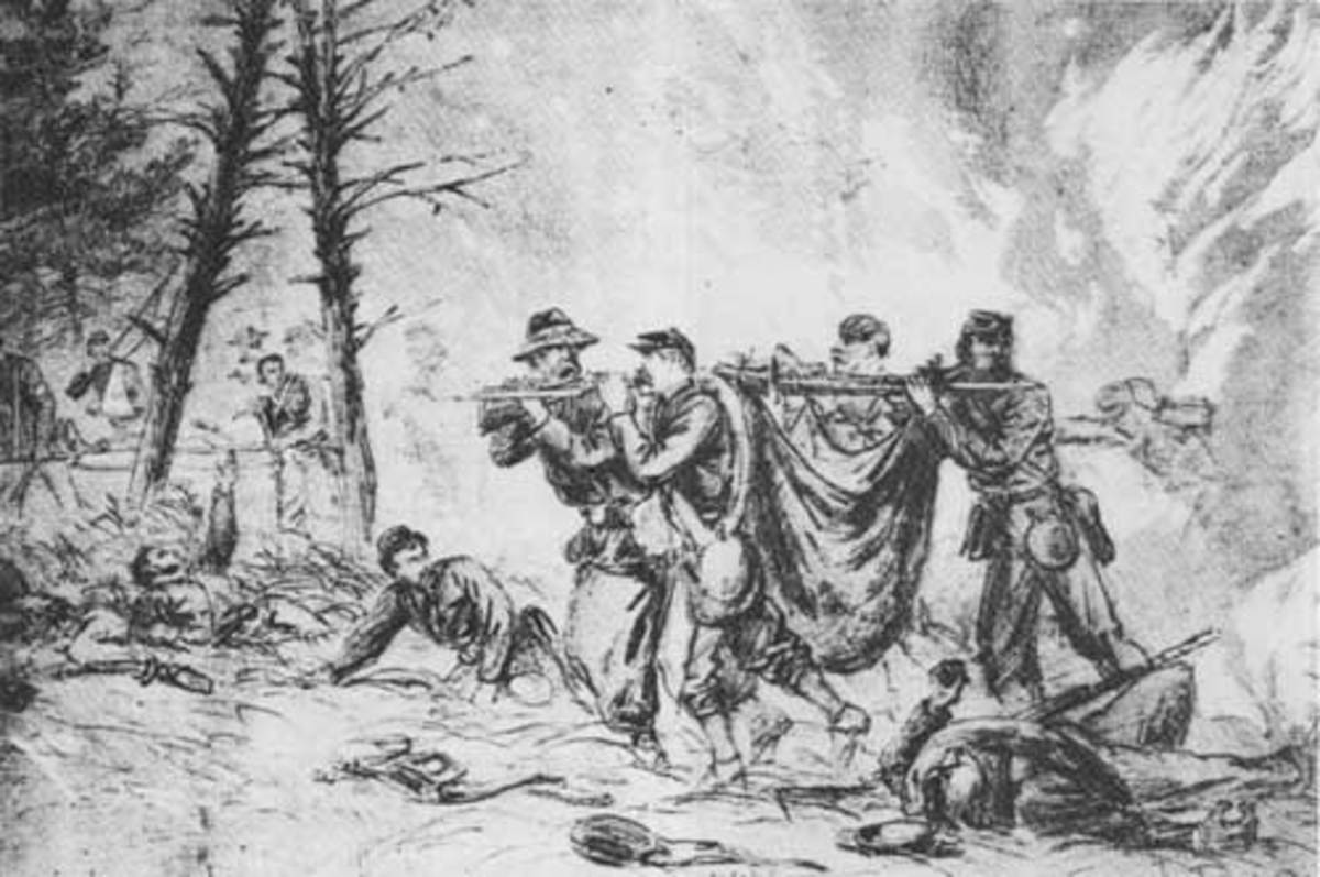Sketch - comrades carry an improvised litter with a wounded comrade