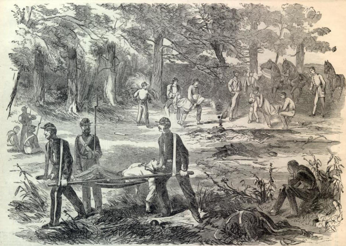 Sketch - litter bearers carry the wounded to the rear