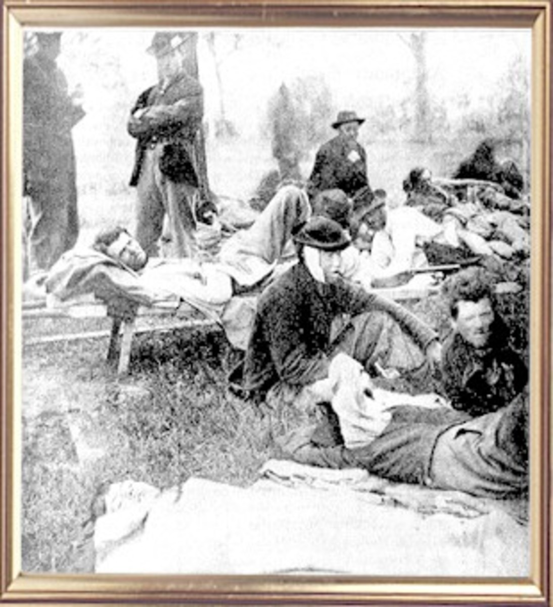 Wounded troops relax outside at Fredericksburg, VA