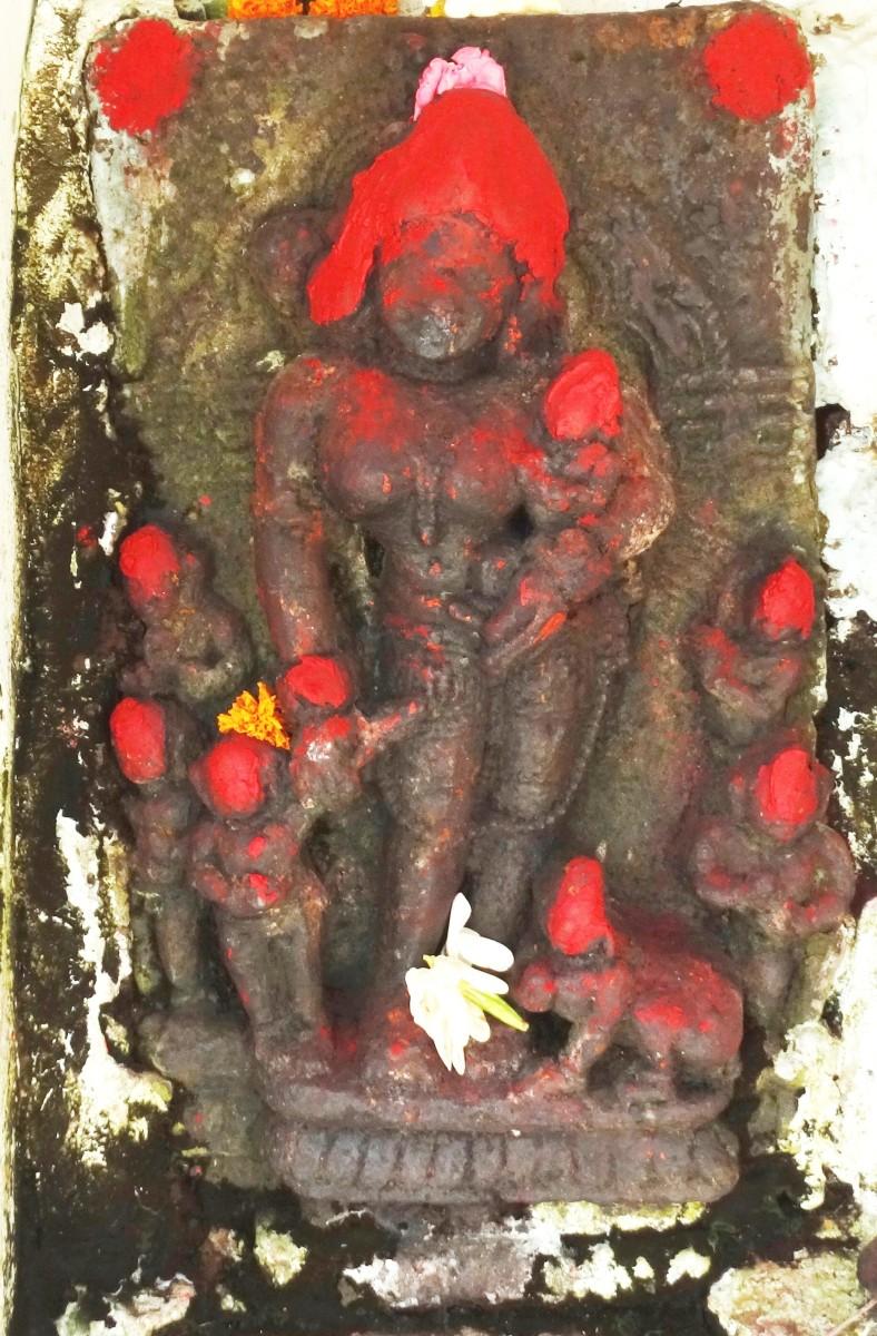 Stone idol of Goddess Shashthi, the goddess of fertility
