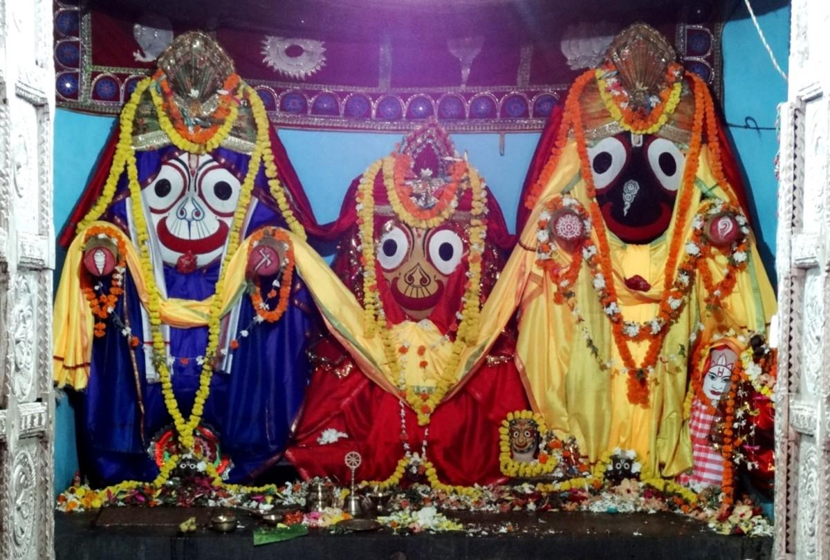 The idols of Lord Jagannath with Lord Balabhadra & Goddess Subhadra