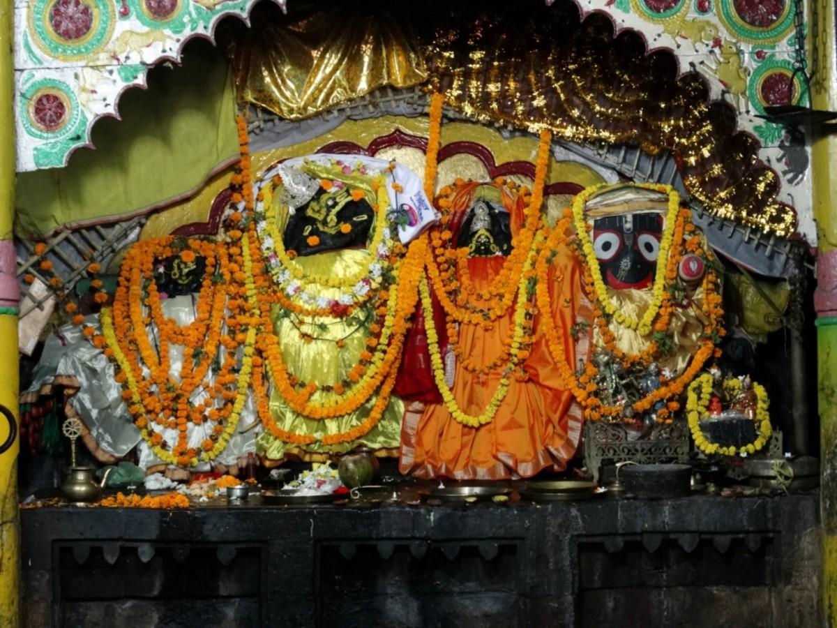 The idols in Varahanath temple (from left Swet Varaha, Yajna Varaha, Mahalakshmi & Lord Jagannath)