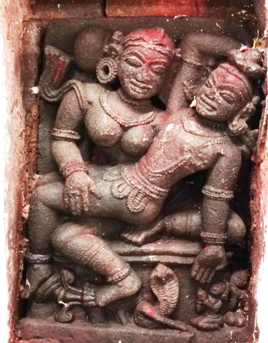 High relief stone figures of Savitri & Satyaban