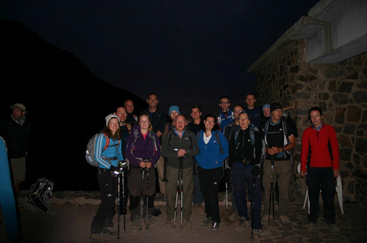 A trek to the summit of Jebel Toubkal, Morocco. Shared goals and tasks can enhance group cohesion. This was a group of strangers 5 days previously.