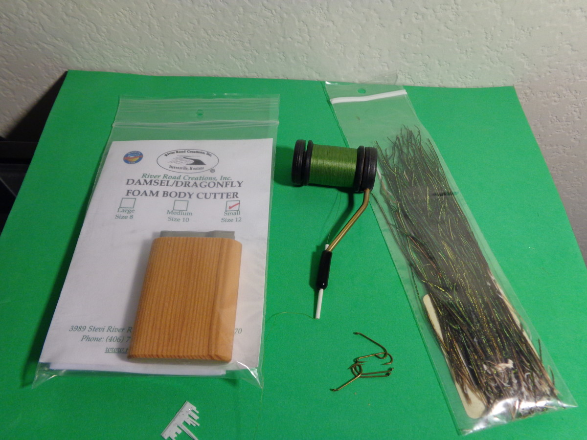 Foam Cutter, Dacron Thread, Size 16 Streamer Hooks, and Peacock Herl
