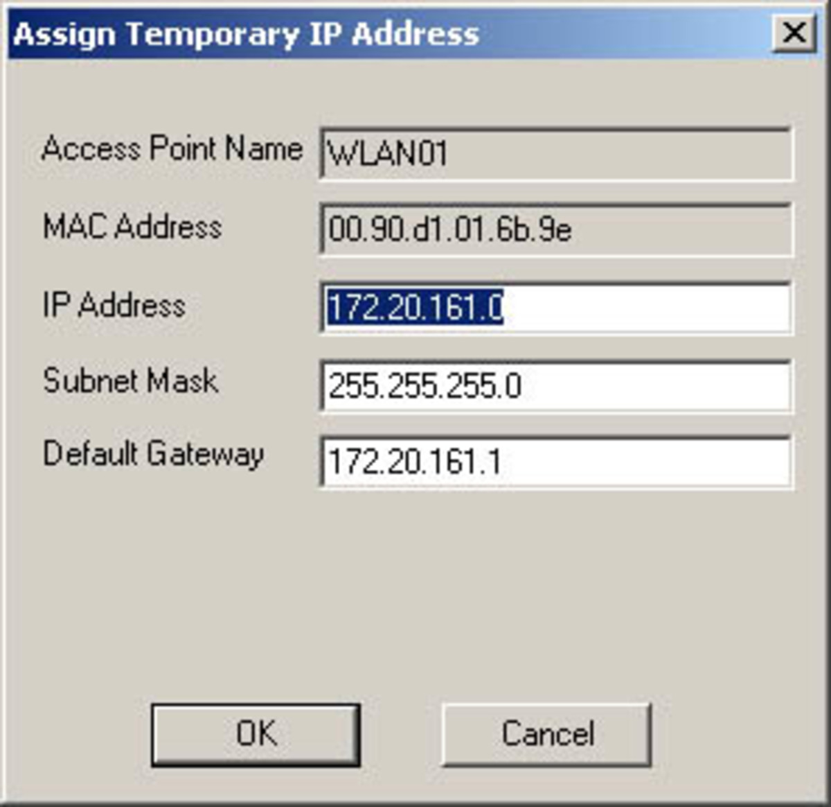 An example of a typical IP address