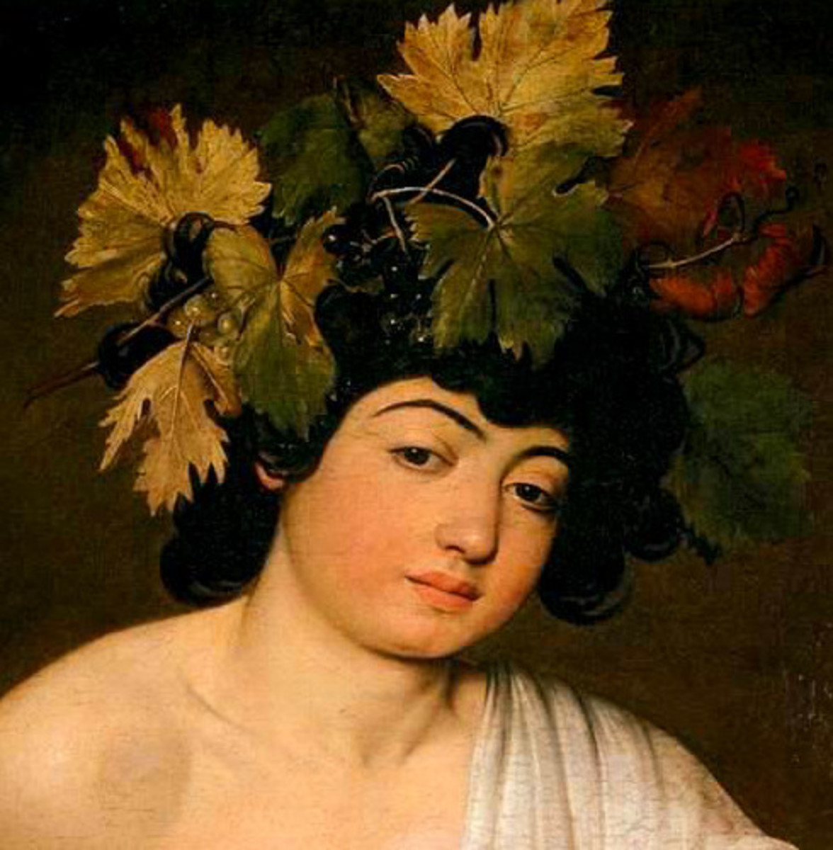 Caravaggio, Bacchus (a. 1596), detail