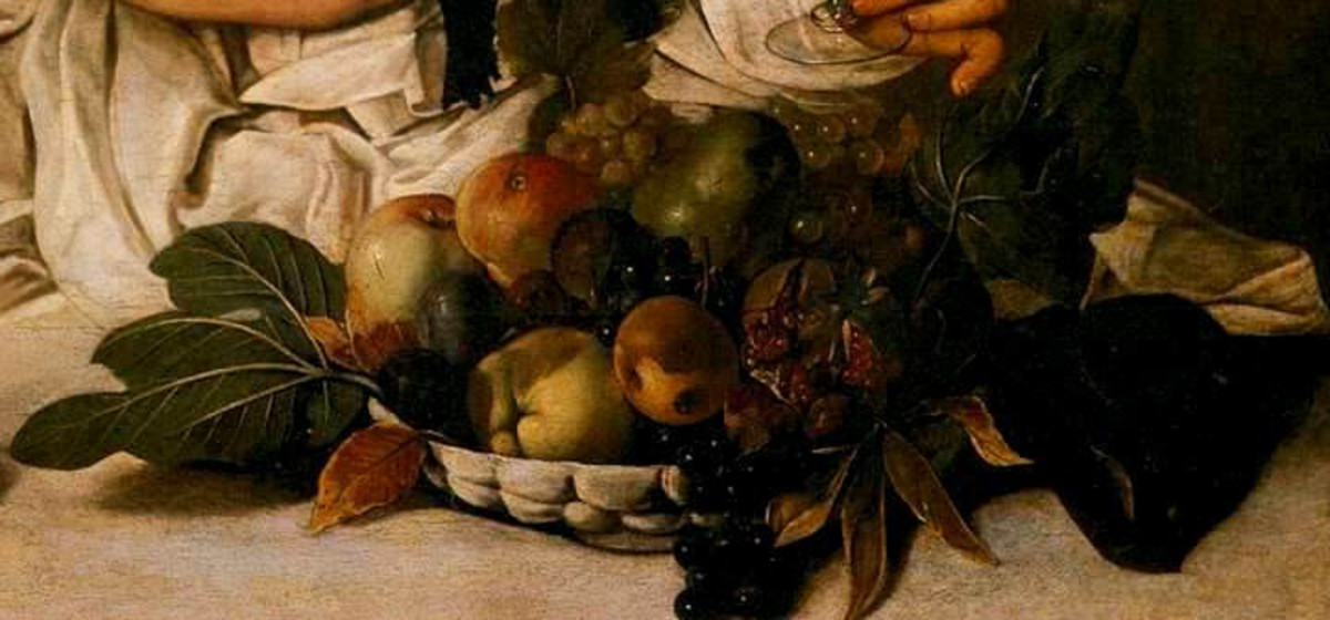 Caravaggio, Bacchus, detail of the basket of fruits