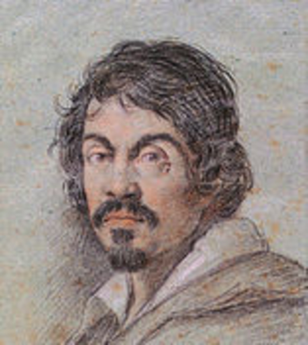 Portrait of Caravaggio (detail), by Ottavio Leoni (a. 1621)