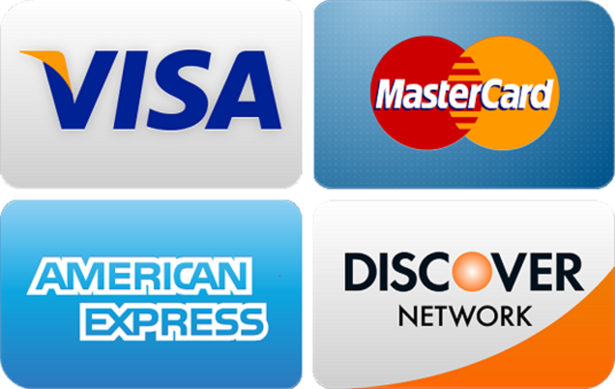 A collage of different credit card payment/technology companies