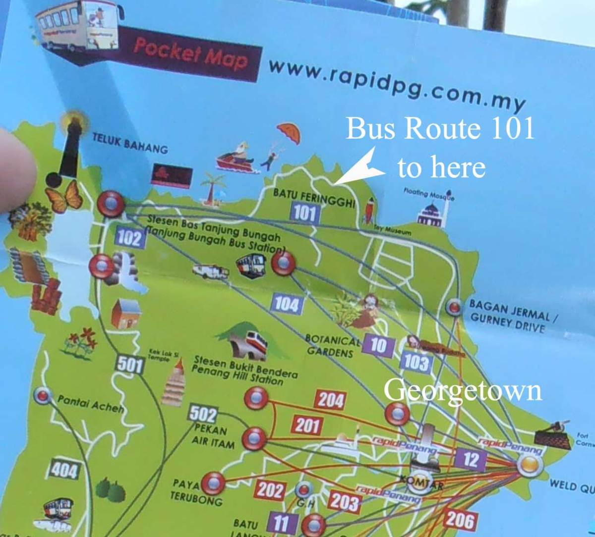 Bus Routes on Penang to Batu Ferringhi