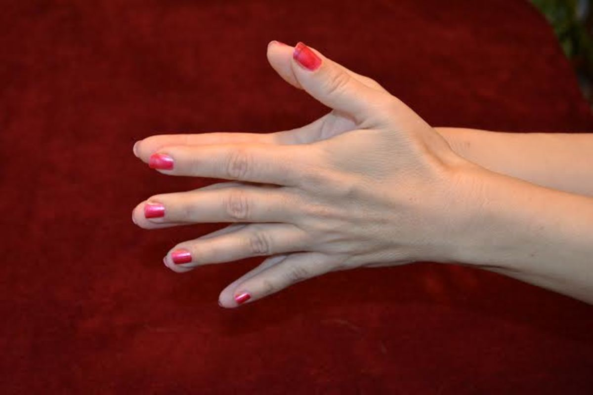 Finish off your hand exercise routine with the hand stretch.