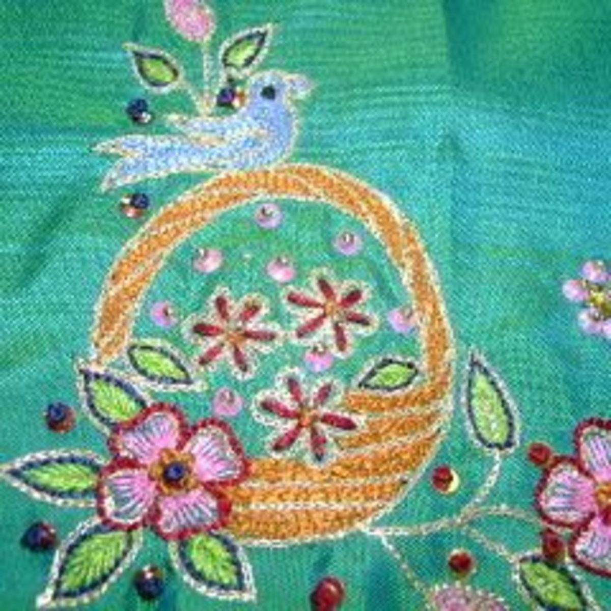 Aari or khatla Embroidery done on a cot  originated in Barabanki, Uttar Pradesh.