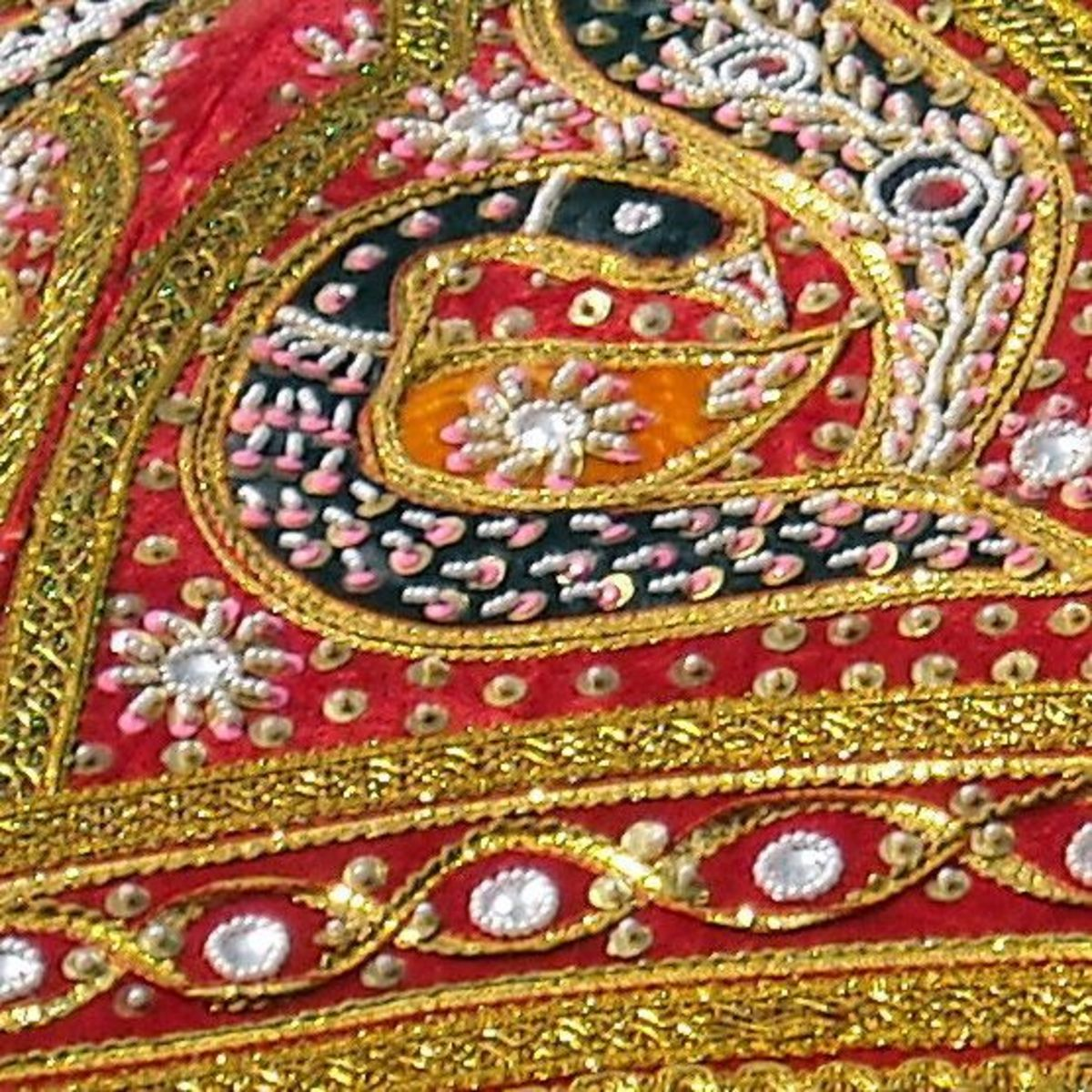 Badla or Flat metallic wire, silver or gilt wire embroidery.
