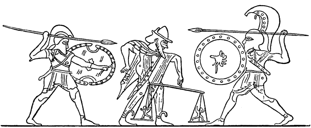Zeus weighing the Keres before the fight of Achillies and Hector