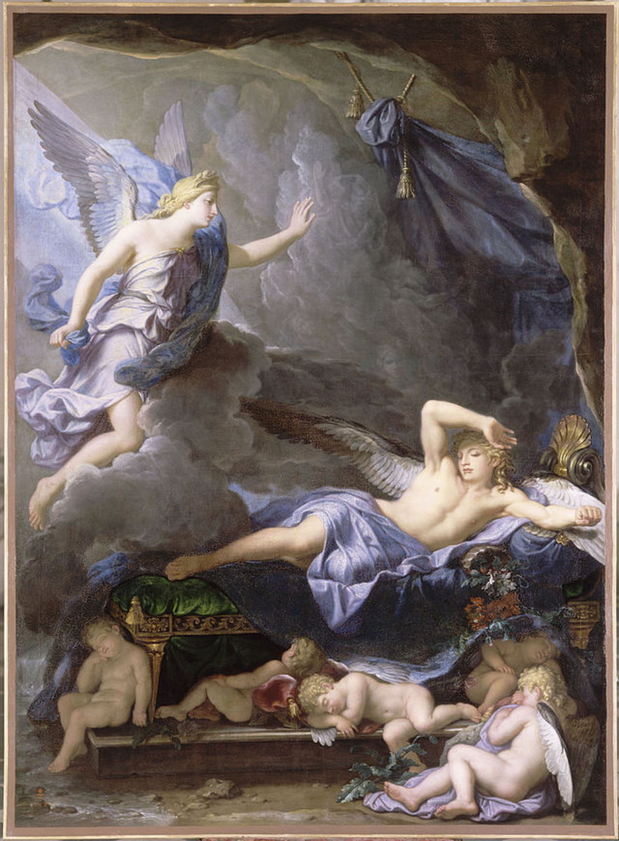 Morpheus, son of Hypnos, awakened by Iris, messenger and goddess of the rainbow