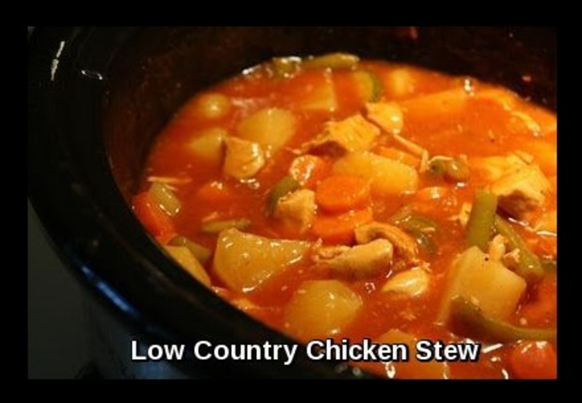 Here in the photo above we have Low Country Chicken Stew which has been made in Charleston S.C. for the last 200 or more years. Here we do it in the crock pot or slow cooker.