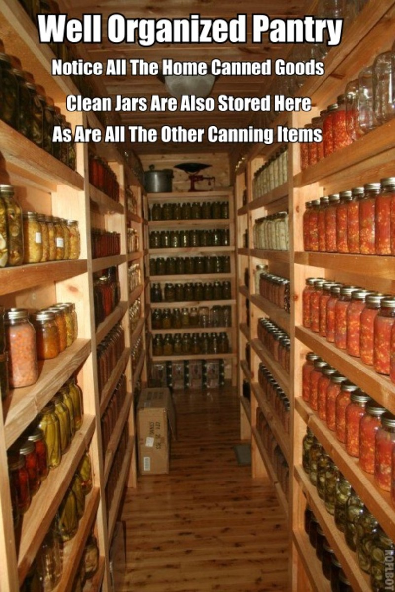 Notice all the delicious looking home canned goods in the photo. Notice the clean jars and canning equipment stored there. This is a well organized pantry.