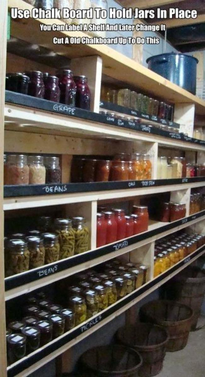 Cut up an old chalkboard to make labels for your pantry shelf's. The chalkboard will also keep your items on the shelf.