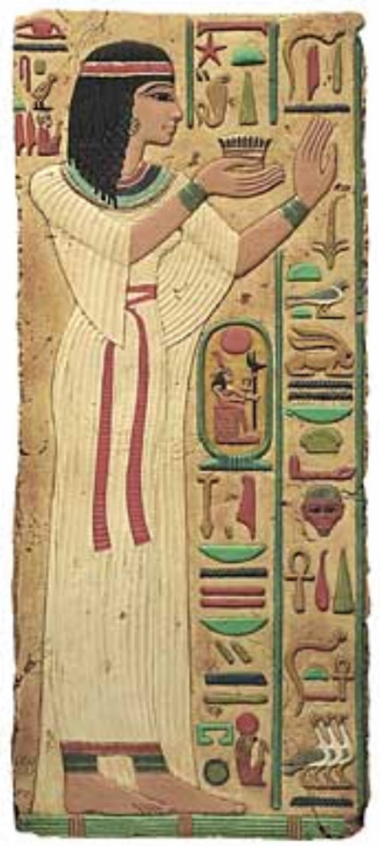 Ancient Egyptian woman in a linen dress
