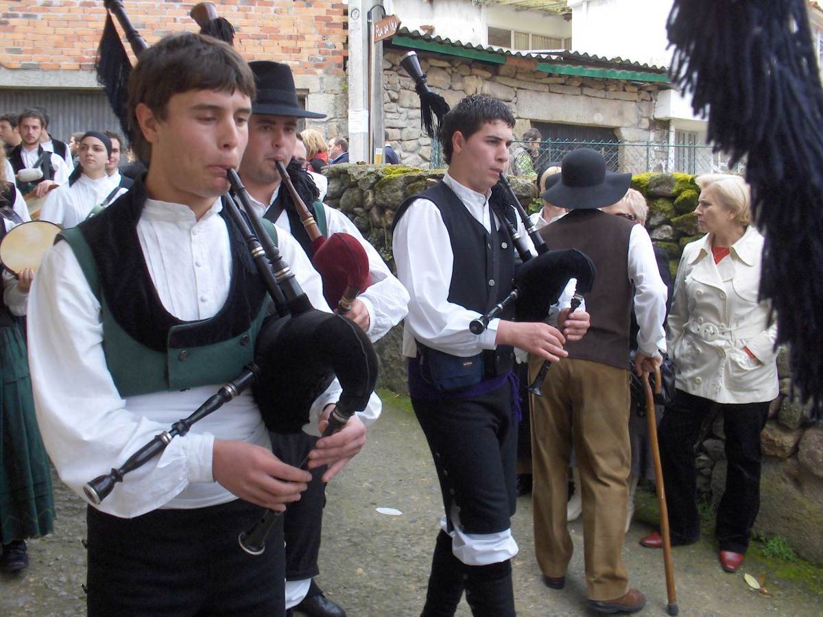 Bagpipers in the region of Galicia in Spain where the Scottish influence has come.