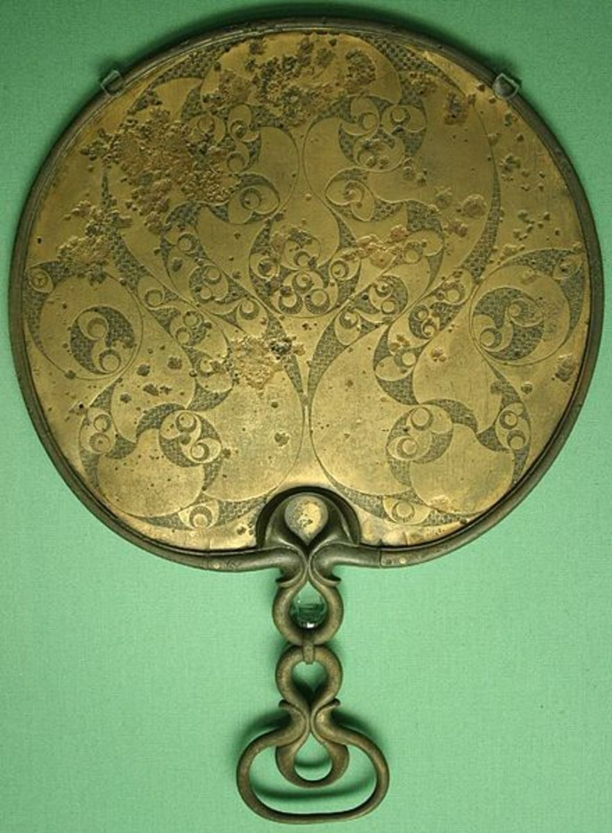 Beautiful bronze decorated backside of a mirror.  An example of Celtic art in the Romano-Britain period. (England)