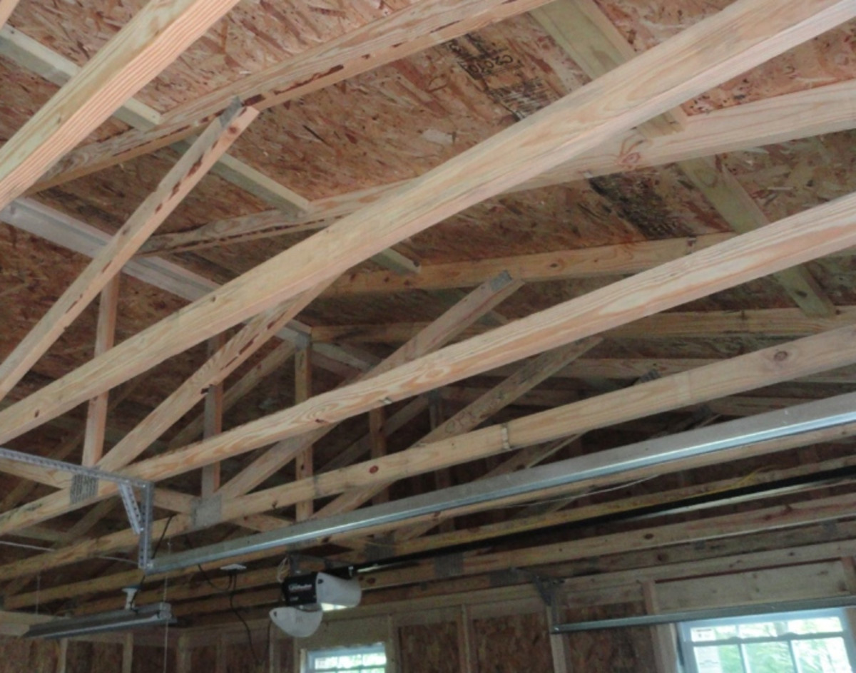 Wood joists are the best to install a garage overhead storage rack into.