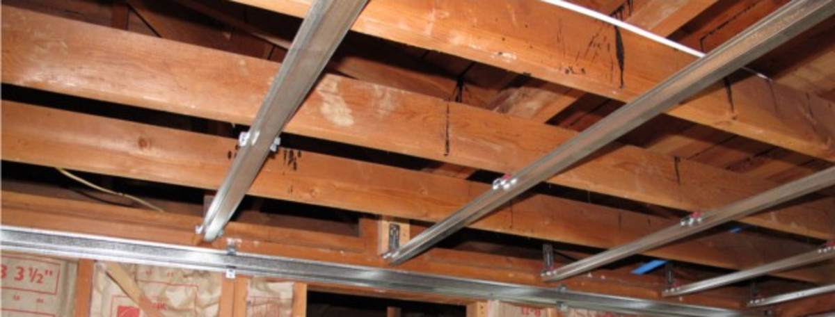 Furring or Hat Channel cannot have overhead storage racks installed on them.