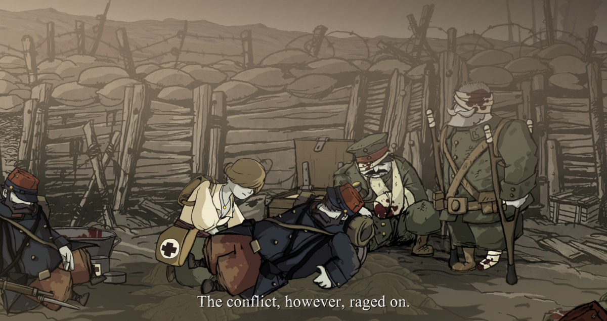 Anna tends to injured soldiers in Valiant Hearts.