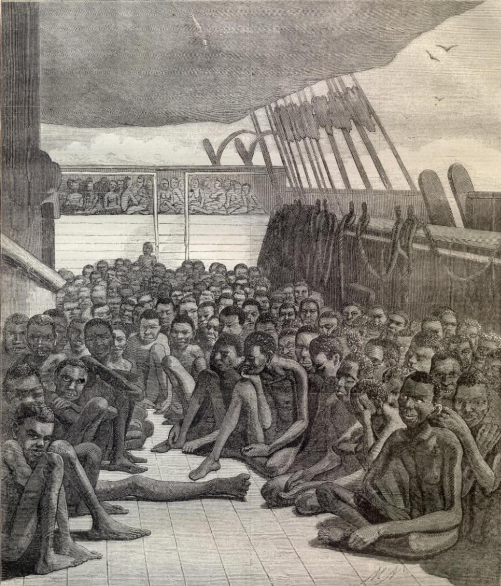"THE SLAVE DECK OF THE BARK ""WILDFIRE,"" BROUGHT INTO KEY WEST ON APRIL 30, 1860,-[FROM A DAGUERREOTYPE.]"