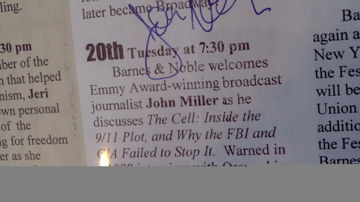 Close up from a flier listing a book event at a Barnes & Noble (on August 20, 2002) featuring then-20/20 co-host John Miller, famous for being the last American journalist to interview Osama bin Laden.