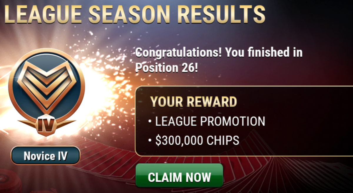 This is how many chips I got from finishing in a league.