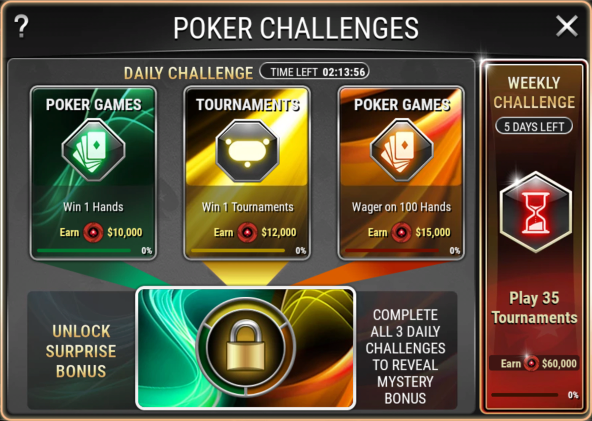 """This the """"Poker Stars Play"""" challenges screen."""