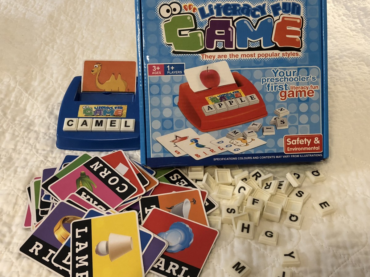 Here's a Literacy Fun work game with letter tiles. This one may originate in China. I removed a few cards like gun and cigar.