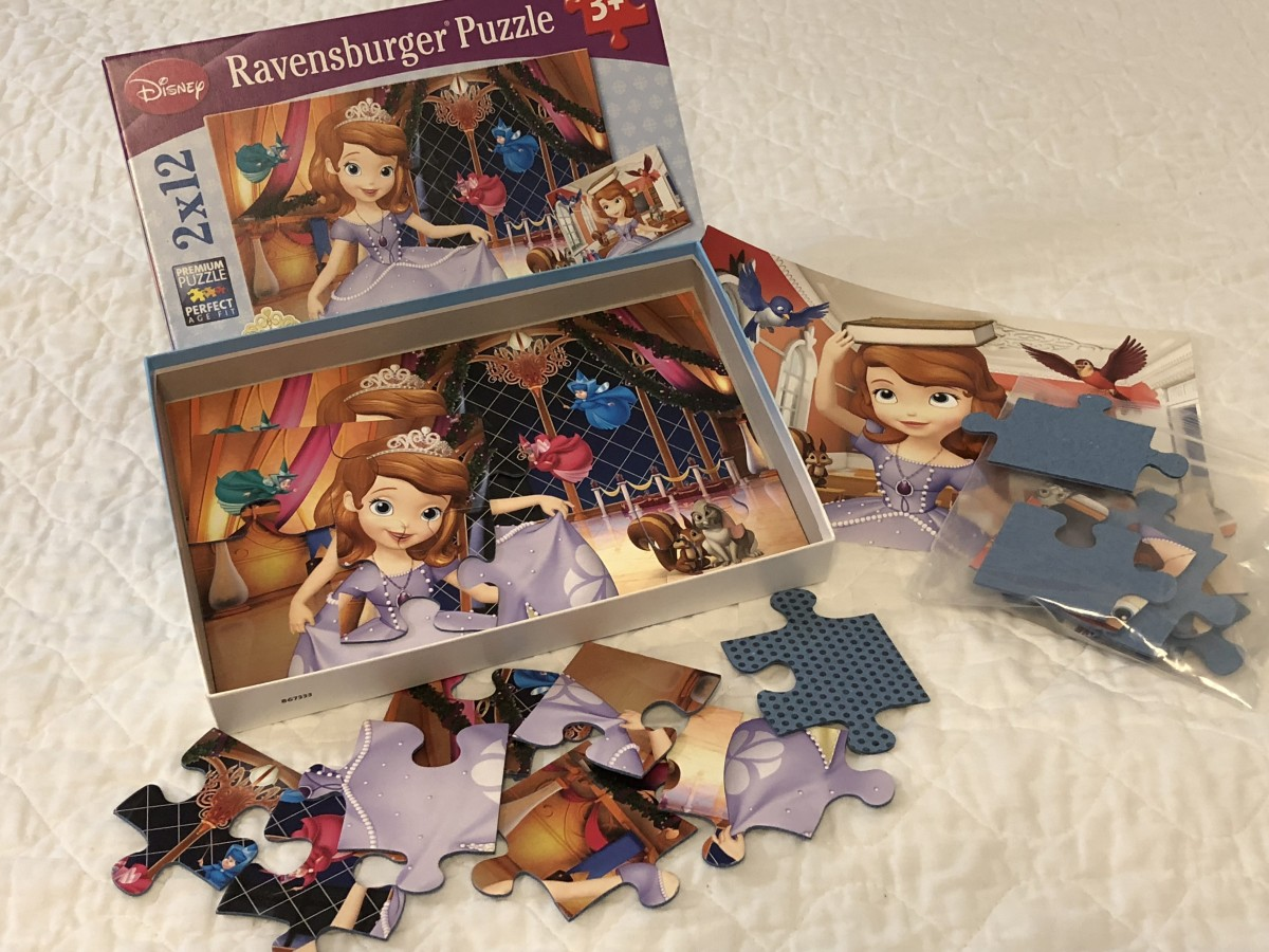 Ravensburger has a line of 12-piece puzzles with 2 puzzles in each box. Included are full-sized picture for each puzzle.