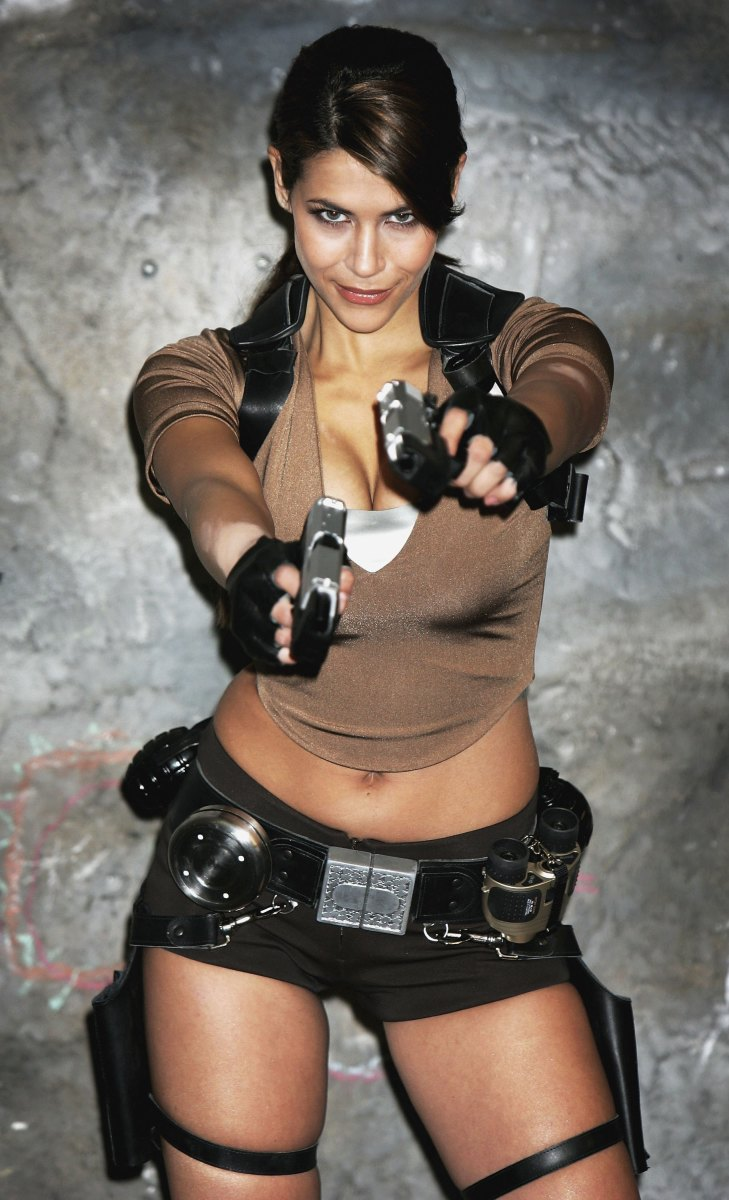 You can find several key pieces for a Lara Croft costume at an army surplus store.