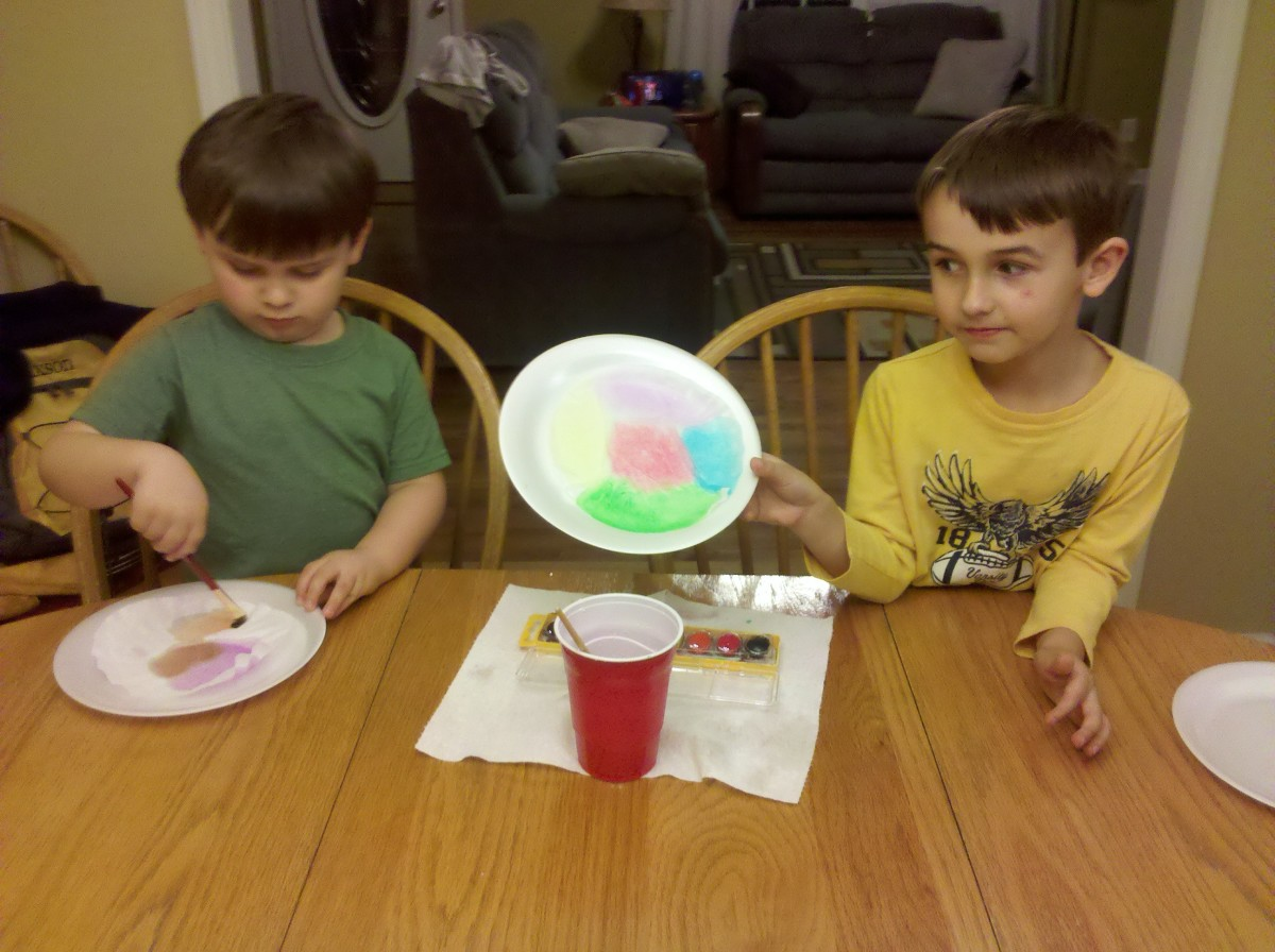 A sneak peak of my son's painted coffee filter.