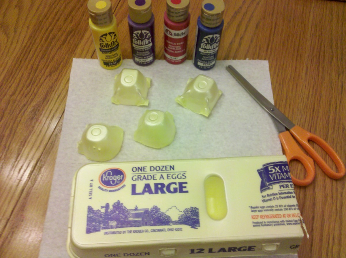 Cut an egg carton into individual shells.