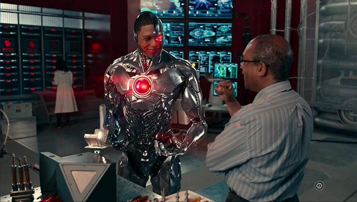 One of the few moments Cyborg isn't scowling.