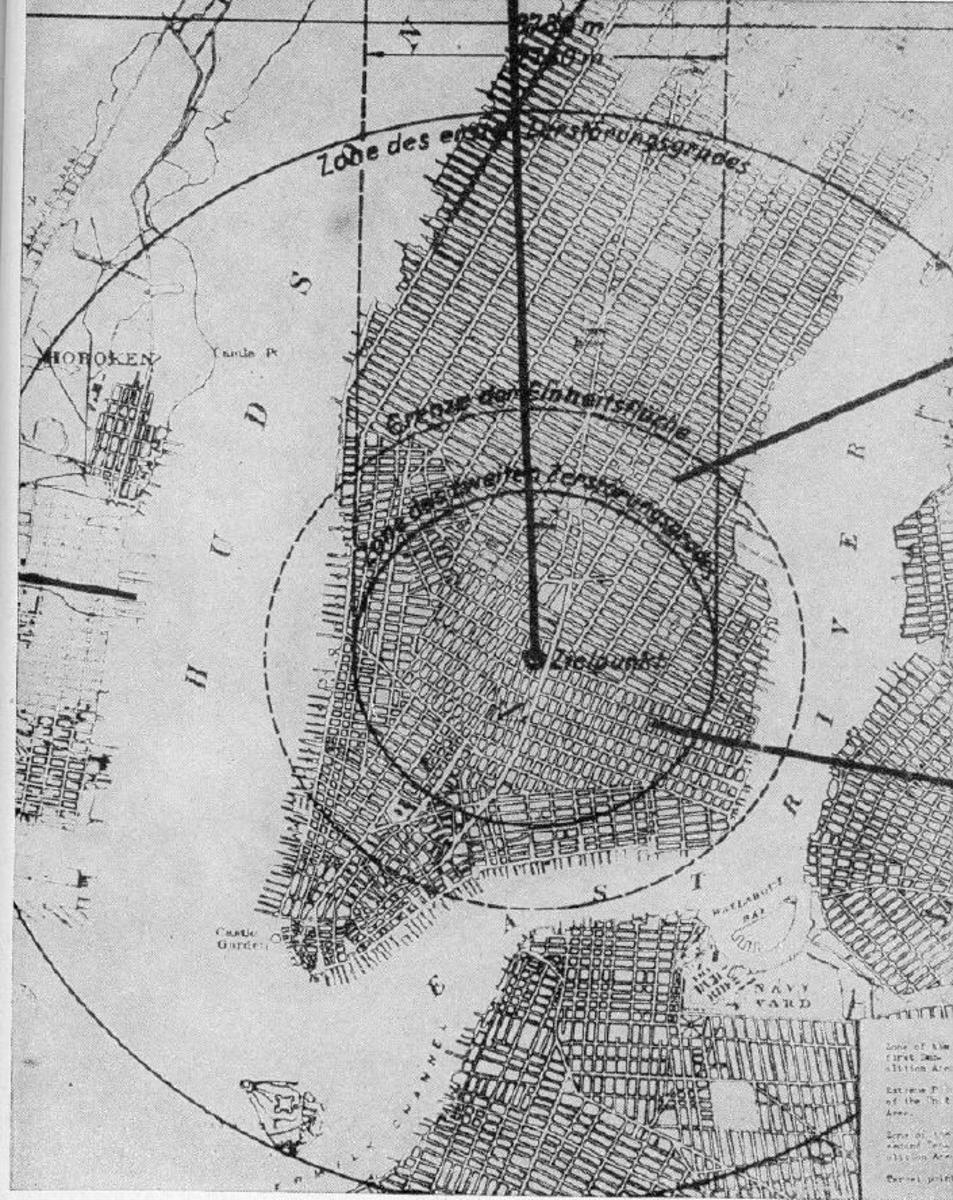Nazi estimation of damage to New York by a small atomic bomb