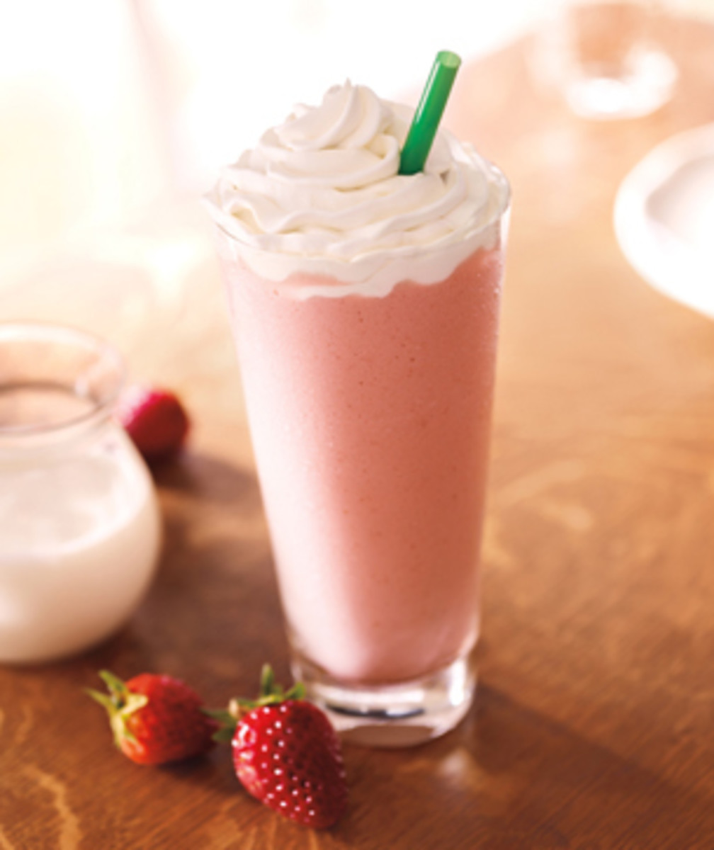 The deliciously pink Strawberries and Creme Frappuccino which gets its bright color from the strawberry puree it is made with.