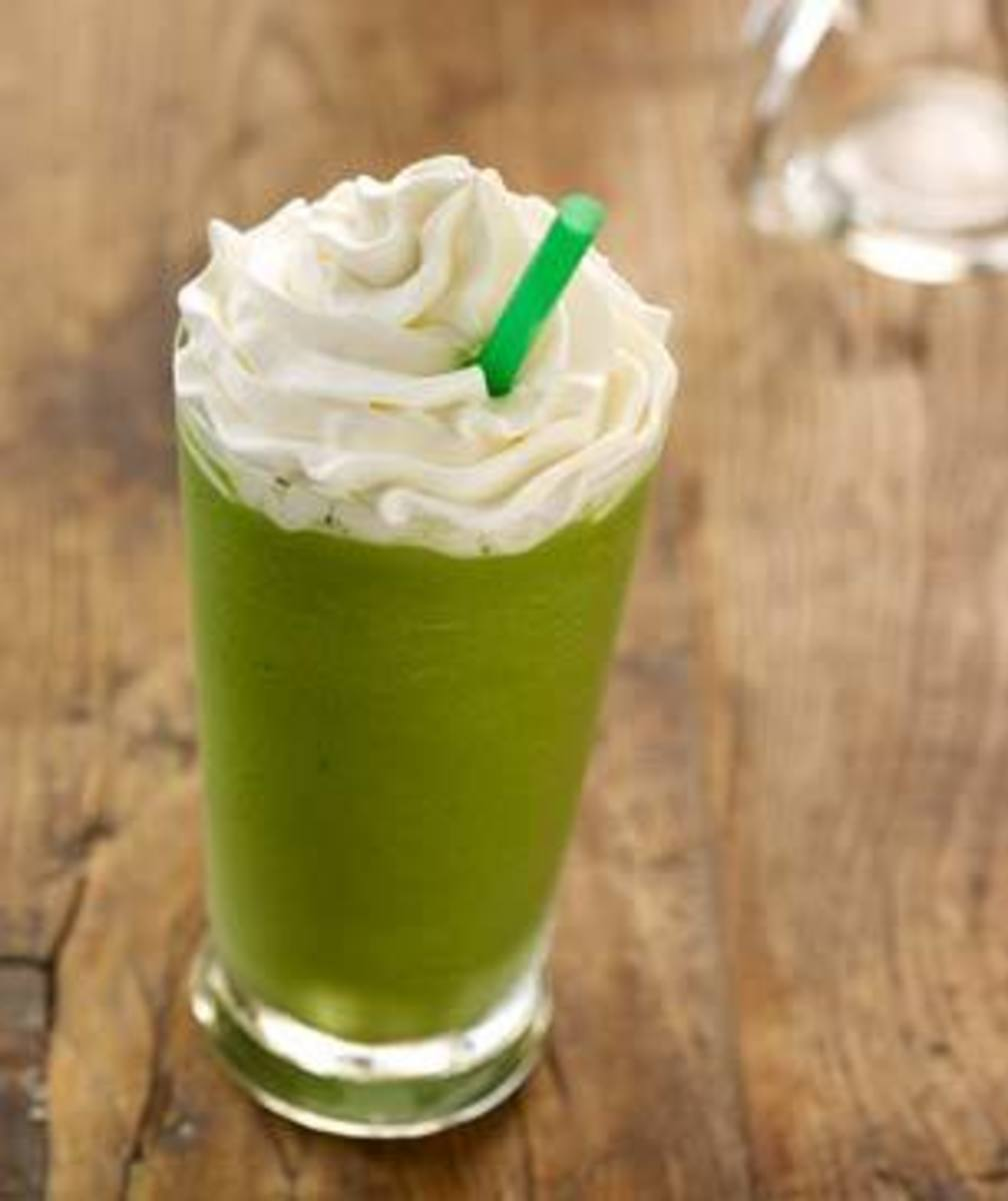 The very green Tazo Green Tea Frappuccino, which gets its unique color from the matcha powder that flavors it.