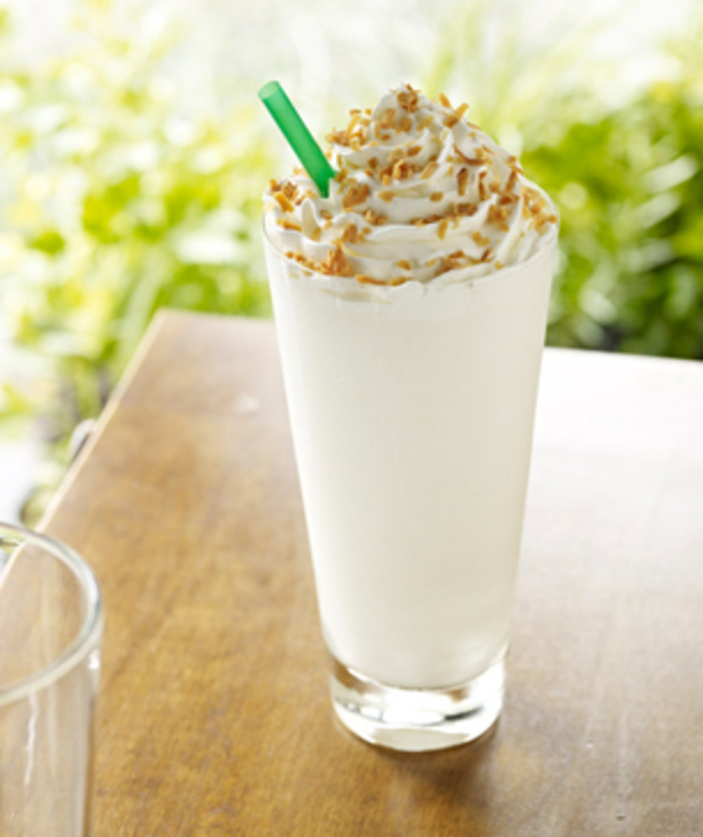 The seasonal Coconut Creme Frappuccino.