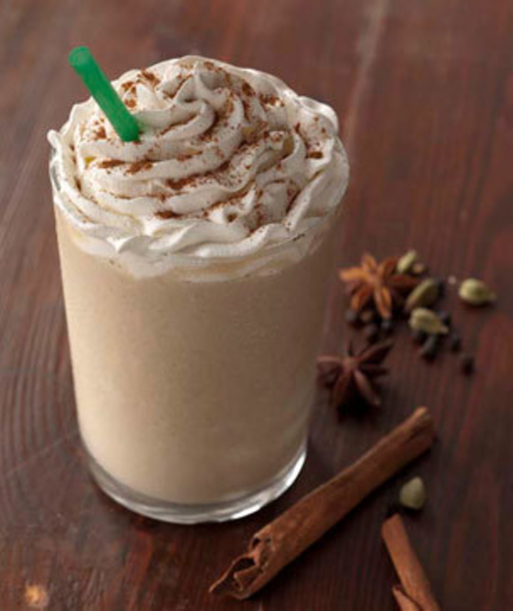 The Tazo Chai Creme Frappuccino is topped with cinnamon powder by default.