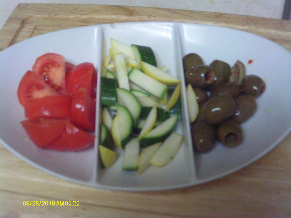 A variety of bite sized vegetables is appealing and easy for kids to handle.