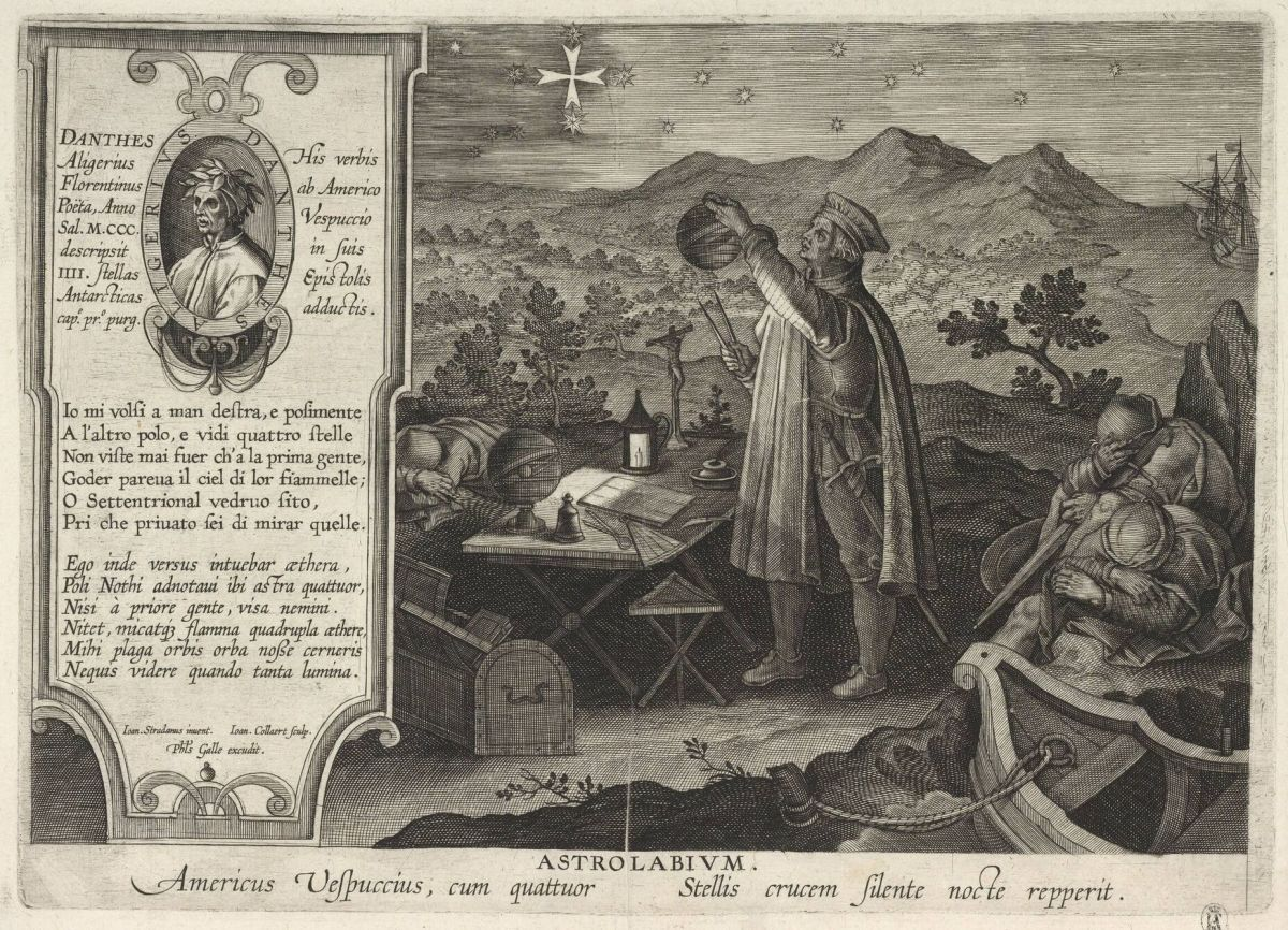 "Depiction of Amerigo Vespucci finding the Southern Cross constellation with an ""astrolabium""."
